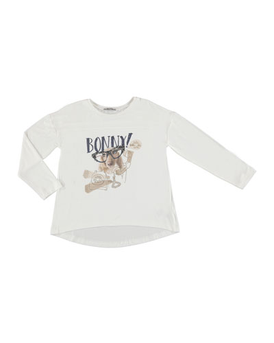 Puppy w/ Glasses Graphic T-shirt, Beige, Size 8-16