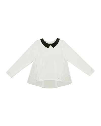 Long-Sleeve Glittered Collar Blouse, Size 8-16