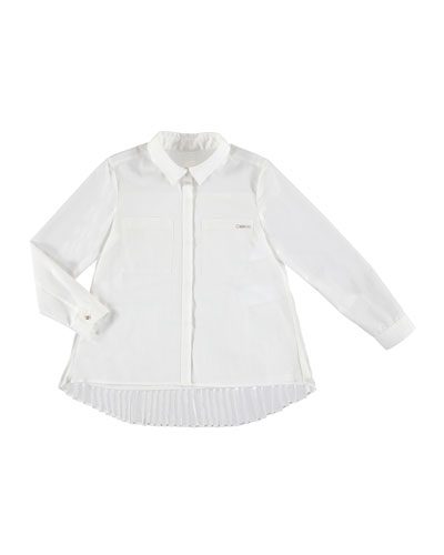 Long-Sleeve Pleated Blouse, Size 8-16