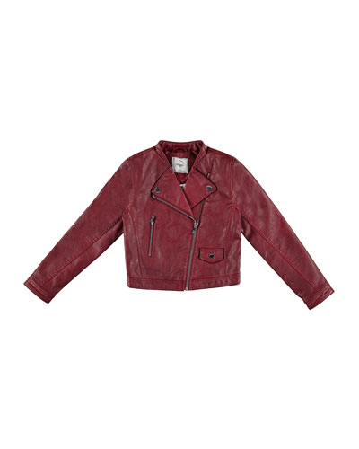 Faux-Leather Moto Jacket, Wine, Size 8-16