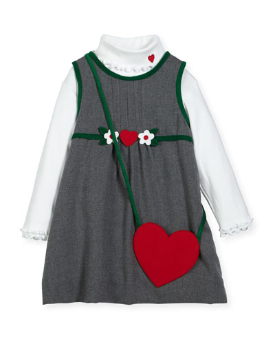 Jumper w/ Ribbed Turtleneck Blouse & Heart Purse, Size 2-6X