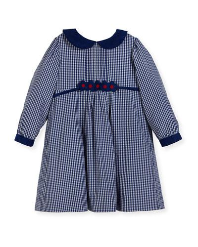 Checkered Dress w/ Floral Detail, Size 2-4