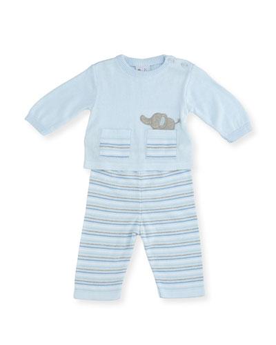 Knit Elephant Top w/ Striped Pants, Size 3-12 Months