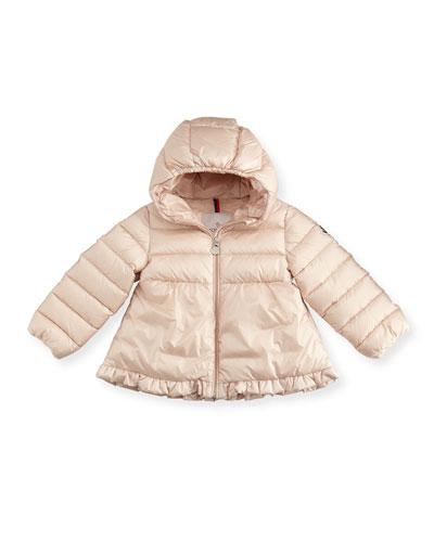 Odile Ruffle-Trim Puffer Jacket, Size 12M-3