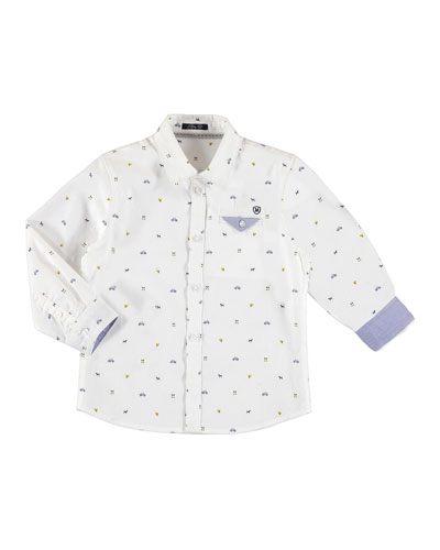 Long-Sleeve Logo-Print Button Down Sport Shirt, Size 3-7