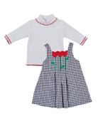 Check Pleated Tulip Jumper w/ Turtleneck, Size 2-6