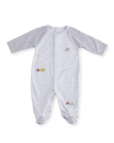 Caboose Striped Footie Pajamas, Size Newborn-9M