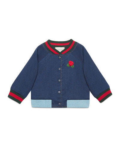 Web Bomber Jacket w/ Rose Applique, Size 12-36 Months