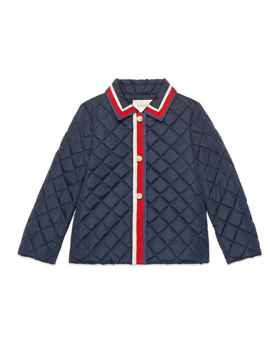 Gucci Quilted Web Trim Coat, Size 4 - 12