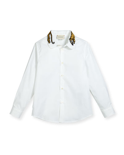 Long-Sleeve Button-Down Shirt w/ Tiger Collar, White, Size 4-12