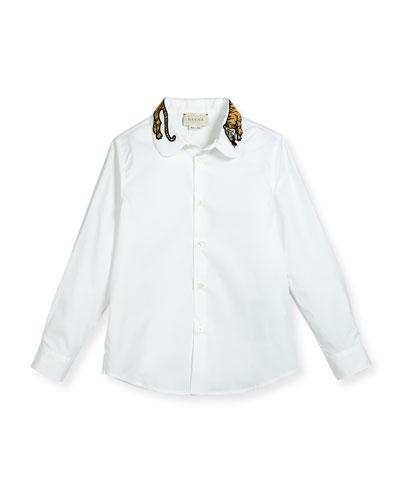 Long-Sleeve Button-Down Shirt w/ Tiger Collar, White, Size 4-12