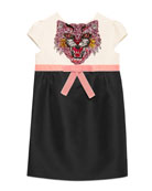 Sequin Angry Cat Colorblock Cady Dress, Size 4-12
