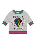 Gucci Power Sequin Diamond Sweatshirt, Size 4-12