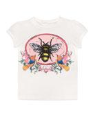 Cap-Sleeve Bee Print T-Shirt, Size 6-36 Months