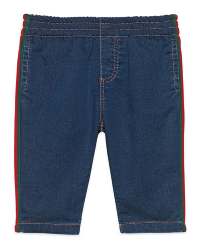 Denim Leggings with Web Trim, Size 9-36 Months