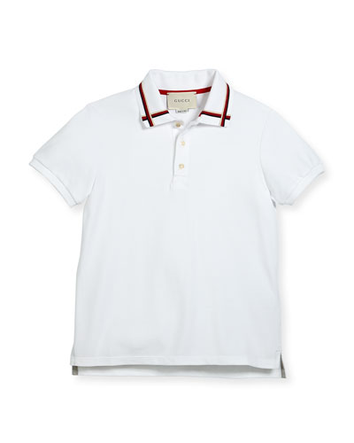 Short-Sleeve Web Stretch Jersey Polo, Size 4-12