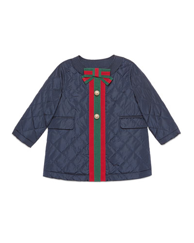 Gucci Padded Quilted Coat With Web Trim, Size 12 - 36 Months