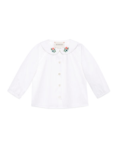 Long-Sleeve Loved Flower Collar Shirt, Size 12-36 Months