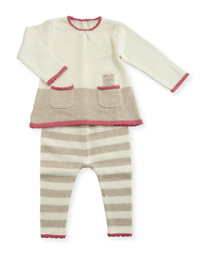 Bear-in-Pocket Knit Dress w/ Striped Leggings, Size 1-12 Months