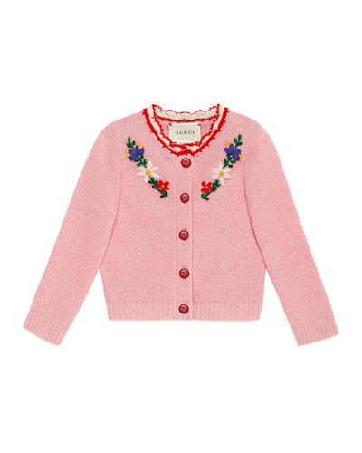 Flower Crochet Wool-Blend Cardigan, Size 6-24 Months