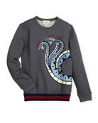 Three-Headed Dragon Web-Trim Sweatshirt, Size 4-12