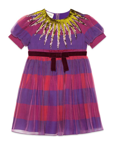 Short-Sleeve Striped Sequin Dress, Size 4-12