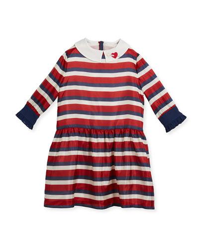 Web-Print Silk Dress, Size 4-12