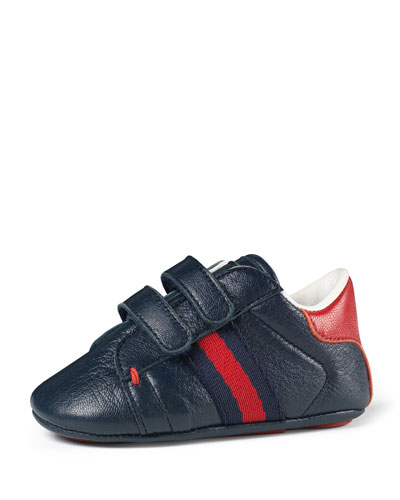 Leather Grip-Strap Sneaker, Baby