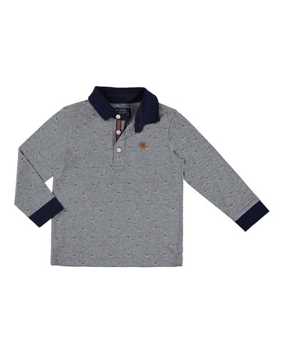 Long-Sleeve Puppy Polo, Size 3-7