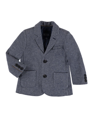 Knitted Cotton-Blend Sport Coat, Size 3-7
