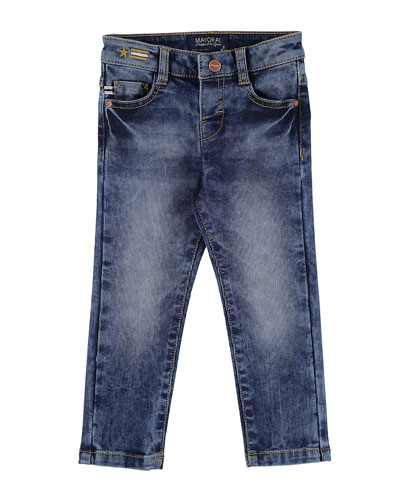 Slim-Fit Pique Denim Jeans, Size 3-7