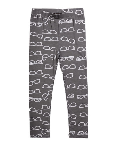 Jersey Leggings with Metallic Shades-Print, Gray, Size 8-14