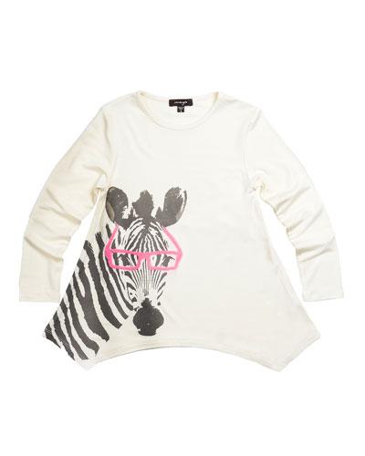 Watercolor Zebra Tunic, White, Size 8-14