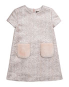 Tweed Dress with Faux Fur Pockets, Pink, Size 8-14