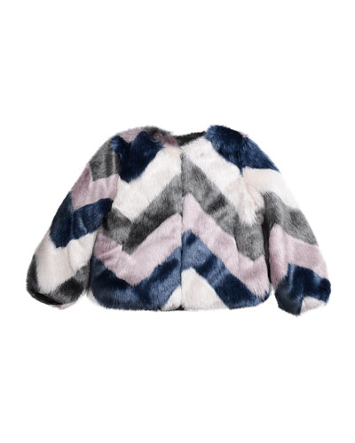 Greta Chevron Faux-Fur Jacket, Multi, Size 8-14