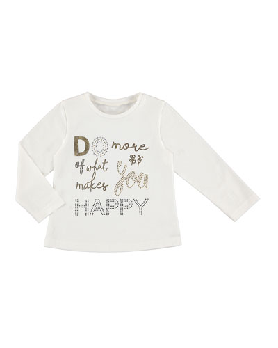 Long-Sleeve Letters Tee, Size 3-7