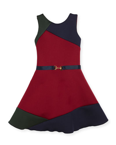 Gigi Colorblock Swing Dress w/ Belt, Size 7-16