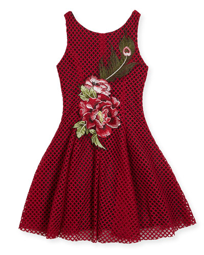 Rosie Netted Fit-and-Flare Dress, Size 7-16