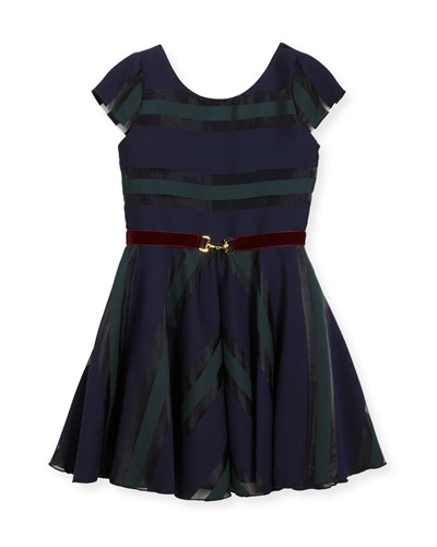 Ophelia Organza Shadow Stripe Dress w/ Belt, Size 7-16