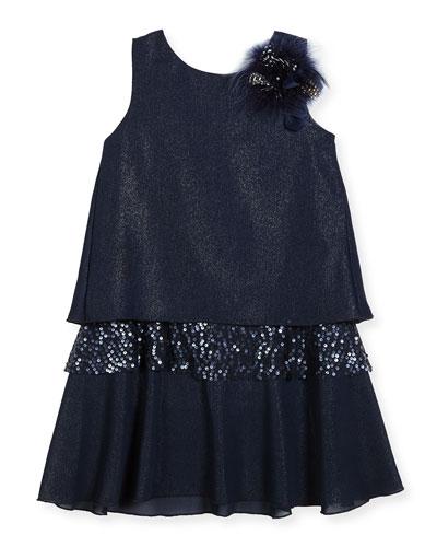 Modern Milly Shimmer Layered Shift Dress, Size 7-16