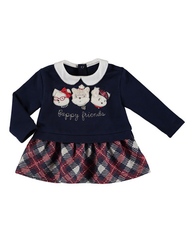 Puppy Friends Plaid Sweater Dress, Size 6-36 Months