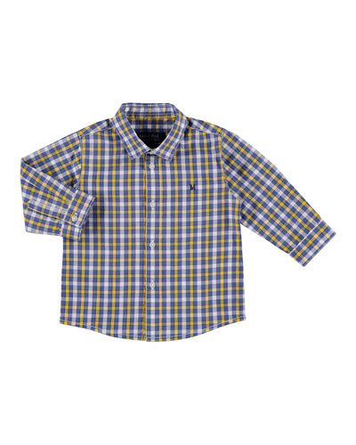Long-Sleeve Check Poplin Shirt, Size 6-36 Months