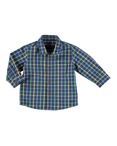 Long-Sleeve Check Poplin Shirt, Blue, Size 6-36 Months