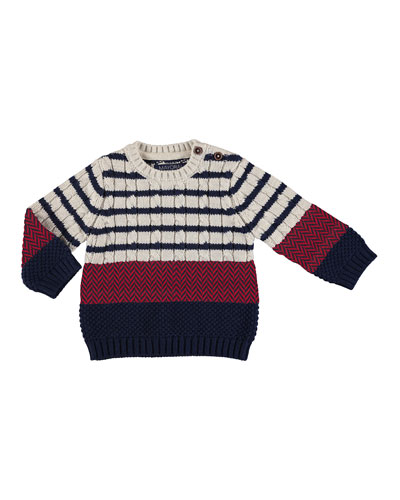 Mix Striped Cable Knit Sweater, Size 6-36 Months