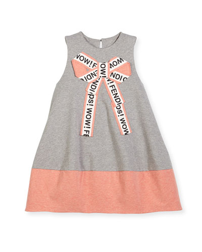 Girls' Sleeveless Logo Bow Dress, Size 6-8