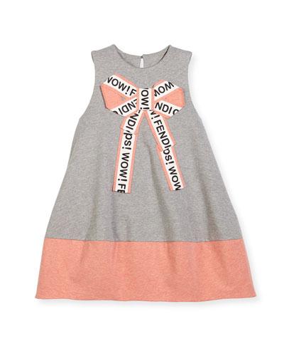 Girls' Sleeveless Logo Bow Dress, Size 6-8