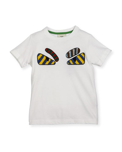 Boys' Short-Sleeve Embroidered Monster Eye T-Shirt, Size 6-8