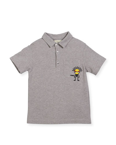 Fendi Boys' Short - sleeve Polo With Light Bulb Detail, Size 3 - 5