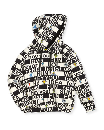 Boys' Allover Words Graphic Hooded Sweatshirt, Size 6-8