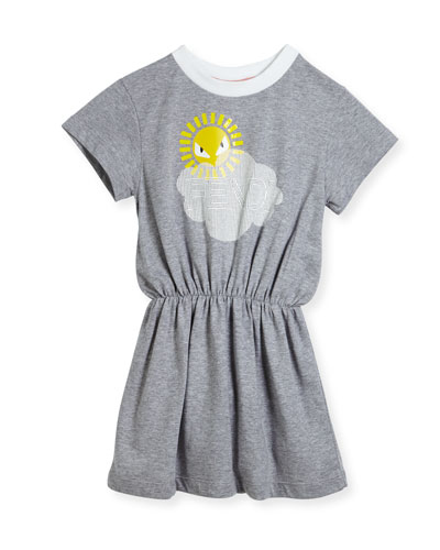 Short-Sleeve Logo Cloud Sun Graphic Dress, Size 3-5